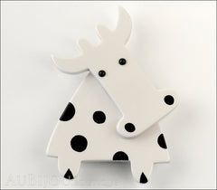 Marie-Christine Pavone Pin Brooch Cow Marguerite White Black Galalith Paris France Front
