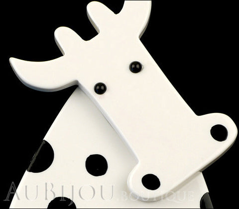 Marie-Christine Pavone Pin Brooch Cow Marguerite White Black Galalith Paris France Gallery