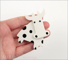 Marie-Christine Pavone Pin Brooch Cow Marguerite White Black Galalith Paris France Model