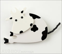 Marie-Christine Pavone Pin Brooch Cow Sitting White Black Galalith Front