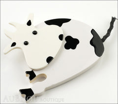 Marie-Christine Pavone Pin Brooch Cow Sitting White Black Galalith Side