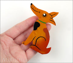 Marie-Christine Pavone Pin Brooch Dog Jack Russel Terrier Orange Galalith Model