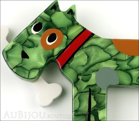 Marie-Christine Pavone Pin Brooch Dog Milou Green Galalith Gallery