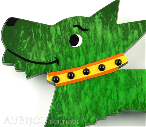 Marie-Christine Pavone Pin Brooch Dog Muso Green Galalith Gallery