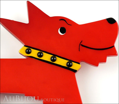 Marie-Christine Pavone Pin Brooch Dog Muso Red Galalith Gallery