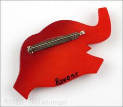 Marie-Christine Pavone Pin Brooch Elephant Red Black Galalith Back