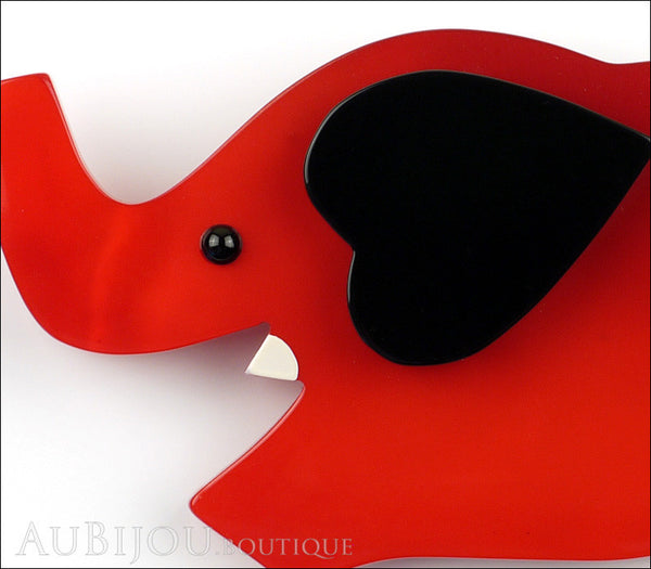 Marie-Christine Pavone Pin Brooch Elephant Red Black Galalith Gallery