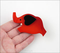 Marie-Christine Pavone Pin Brooch Elephant Red Black Galalith Model