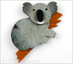 Marie-Christine Pavone Pin Brooch Koala Bear Silver Grey Brown Galalith Front