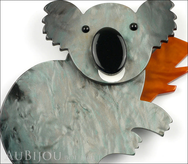 Marie-Christine Pavone Pin Brooch Koala Bear Silver Grey Brown Galalith Gallery