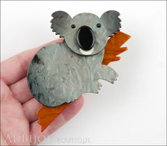 Marie-Christine Pavone Pin Brooch Koala Bear Silver Grey Brown Galalith Model
