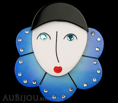 Marie-Christine Pavone Pin Brooch Pierrot Mime Blue Collar Galalith Paris France Black