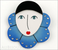 Marie-Christine Pavone Pin Brooch Pierrot Mime Blue Collar Galalith Paris France Front