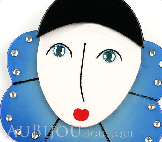 Marie-Christine Pavone Pin Brooch Pierrot Mime Blue Collar Galalith Paris France Gallery