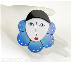 Marie-Christine Pavone Pin Brooch Pierrot Mime Blue Collar Galalith Paris France Mannequin