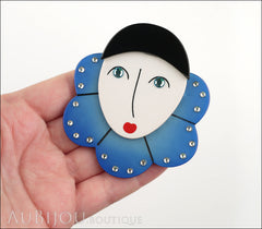 Marie-Christine Pavone Pin Brooch Pierrot Mime Blue Collar Galalith Paris France Model