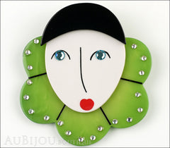 Marie-Christine Pavone Pin Brooch Pierrot Mime Green Collar Galalith Front