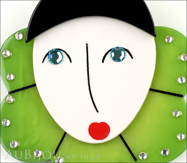 Marie-Christine Pavone Pin Brooch Pierrot Mime Green Collar Galalith Gallery
