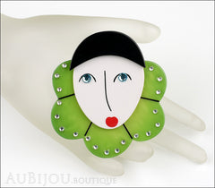 Marie-Christine Pavone Pin Brooch Pierrot Mime Green Collar Galalith Mannequin