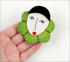 Marie-Christine Pavone Pin Brooch Pierrot Mime Green Collar Galalith Model