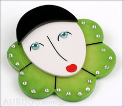 Marie-Christine Pavone Pin Brooch Pierrot Mime Green Collar Galalith Side