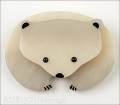 Marie-Christine Pavone Pin Brooch Polar Bear Light Grey Galalith Front