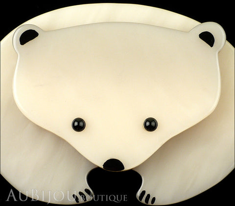 Marie-Christine Pavone Pin Brooch Polar Bear Light Grey Galalith Gallery
