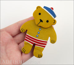 Marie-Christine Pavone Pin Brooch Teddy Bear Sailor Ochre Galalith Paris France Model