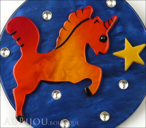 Marie-Christine Pavone Pin Brooch Unicorn Starry Night Blue Orange Galalith Gallery