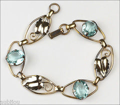 Vintage Sterling Gold Filled Aqua Aquamarine Blue Rhinestone Leaf Bracelet 1940's