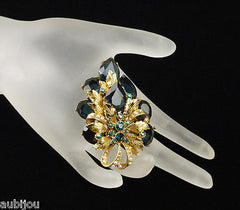 Vintage Signed Art Marked Openback Montana Blue Rhinestone Leaf Brooch Pin 1960's