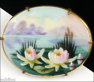 Vintage Porcelain Handpainted Floral Water Lily Cattail Tropical Deco Brooch Pin