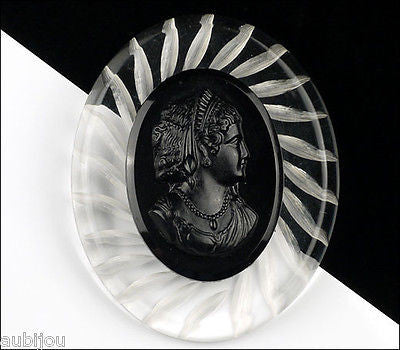 Vintage Large Carved Clear Lucite Black Celluloid Cameo Brooch Pin 1950's Plastic