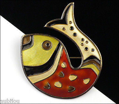 Vintage David Andersen Sterling Silver Enamel Figural Fish Brooch Pin Norway 1950's