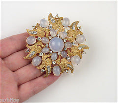 Vintage Crown Trifari Floral Faux Moonstone Cabochon Flower Brooch Pin Set 1960's