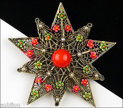 Vintage Signed Art Heraldic Red Enamel Floral Flower Star