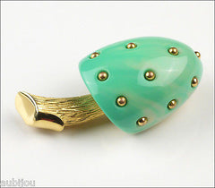 Vintage Crown Trifari Figural Turquoise Lucite Mushroom Brooch Pin Toadstool