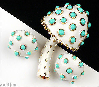Vintage Crown Trifari White Enamel Turquoise Beads Mushroom Brooch Pin Set 1960's