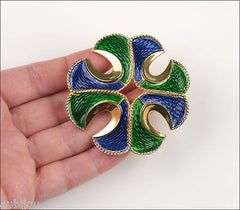 Vintage Crown Trifari Green Blue Enamel Heraldic Maltese Cross Brooch Pin Crest