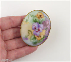 Vintage Porcelain Handpainted Floral Purple Pansy Violet Leaf Foliage Brooch Pin