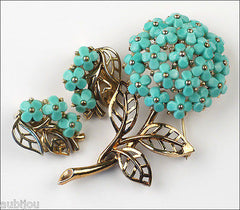 Vintage Trifari Blue Molded Glass Forget Me Not Flower Brooch Pin Set Earrings