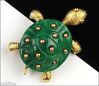 Vintage Crown Trifari Figural Dark Green Lucite Turtle Brooch Pin 1960's Reptile