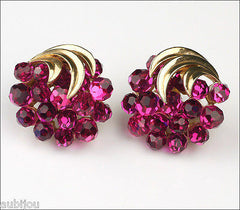 Vintage Trifari Briolette Fuchsia Rhinestone Pineapple Fruit Brooch Pin Set 1960's