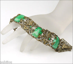 Antique Art Nouveau Czech Grape Green Peking Glass Cabochon Bracelet Victorian