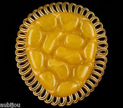 Vintage Large Carved Butterscotch Bakelite Brass Dress Clip Retro Jewelry 1940's