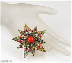 Vintage Signed Art Heraldic Red Enamel Floral Flower Star Filigree Brooch Pin