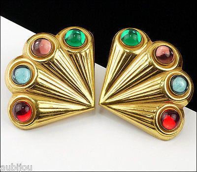 Vintage Signed Miriam Haskell Multi Color Glass Cabochon Fan Clip Earrings 1960's