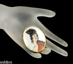 Antique Hand Painted Porcelain Portrait Miniature Spanish Girl Romani Brooch Pin