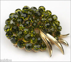 Vintage Trifari Briolette Olivine Faceted Glass Rhinestone Brooch Pin 1960's