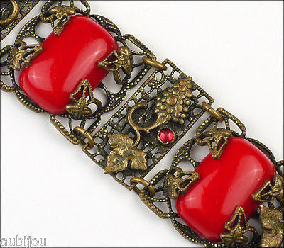 Antique Art Nouveau Brass Czech Grape Red Glass Cabochon Bracelet Victorian Leaf